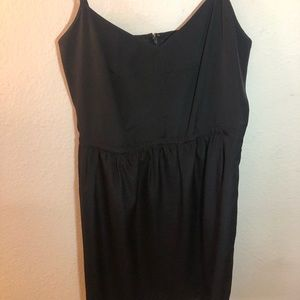 J Crew black silk mini dress with pockets